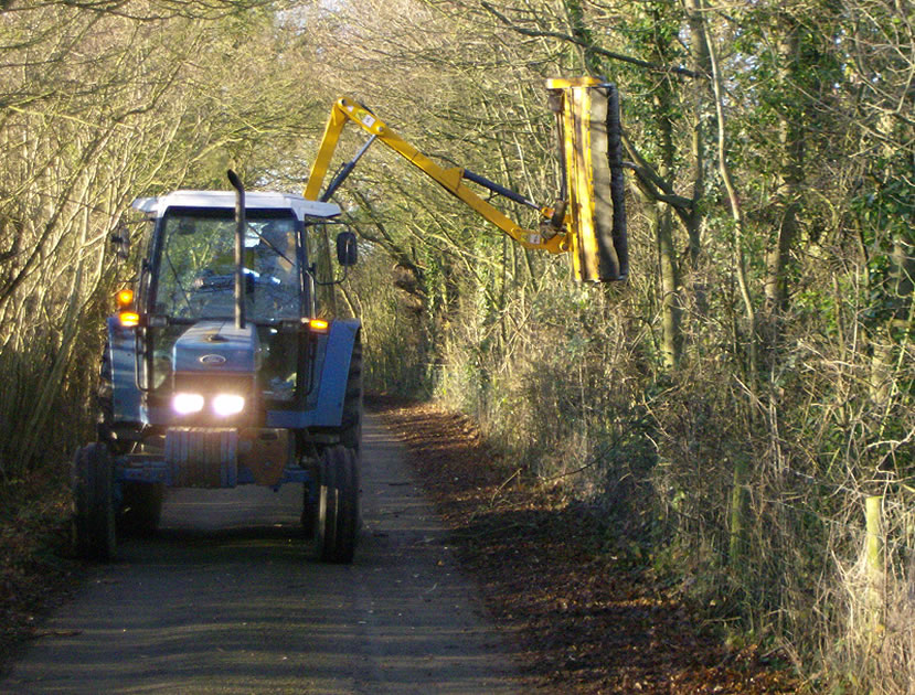 Nigel Trimming Roadside Hedgerows in Winter