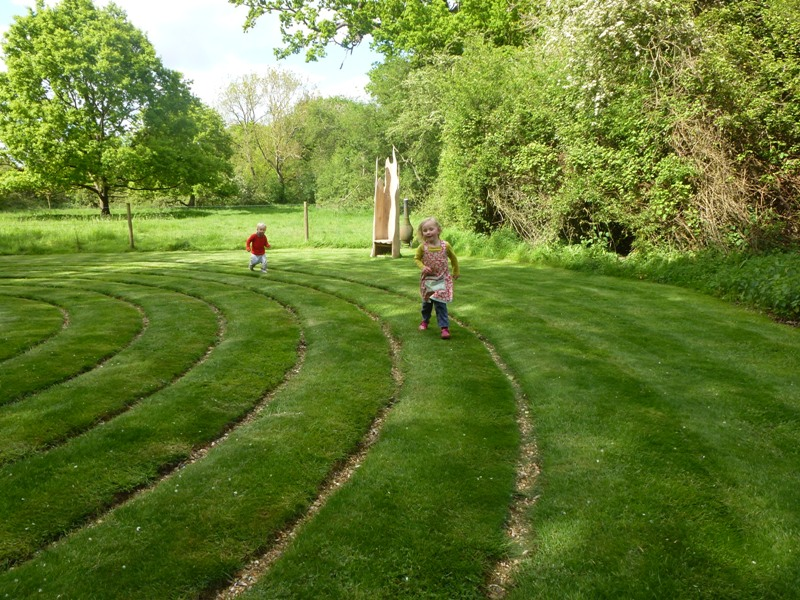 Enjoying the labyrinth at White House Farm (by Ruth Harmer)